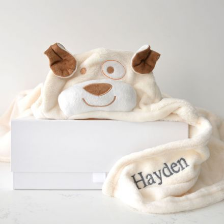 Personalised Cream Dog Hooded Baby Blanket